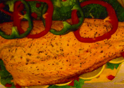 grilled salmon close up